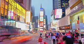 Evening Timelapse Times Square Establishing Shot Footage