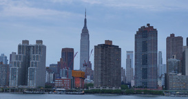 Dusk Manhattan Establishing Shot Empire State Building Footage