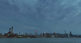 Extreme Wide Shot Night Manhattan Skyline Footage