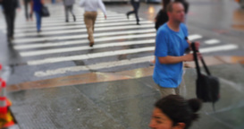 New York Pedestrians Rushing in the Rain Footage