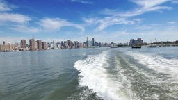 Rear View New York City Skyline from the East River Footage