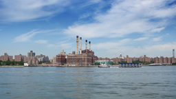 Manhattan Skyline and Con Edison Power Plant as seen from the East River Ferry Footage