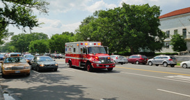 Ambulance Races Past Camera in Washington DC Footage