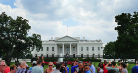 Exterior Establishing Shot Tourists Visit White House in Washington D.C Footage
