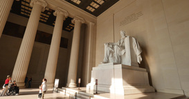 Tourists Visit the Lincoln Memorial Footage