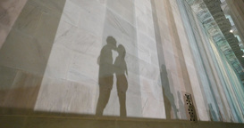 Young Couple Kiss Outside Lincoln Memorial Shadows Footage