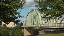 Small River Town Bridge Establishing Shot in Summer Footage