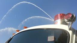 Firetruck Sprays Hoses Slow Motion Footage