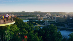 Family Visits Mt Washington Overlook in Pittsburgh Footage