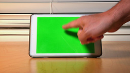 Hand Touches Green Screen iPad Tablet PC Footage