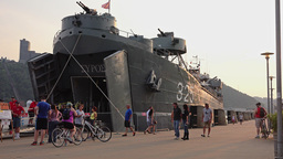People Visit the LST 325 Docked in Pittsburgh Footage