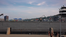 Pan of LST 325 Docked in Pittsburgh Footage
