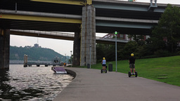 Segway Tourist On Pittsburgh North Shore stock footage