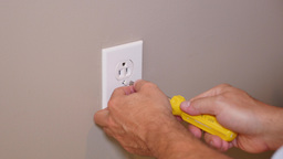 Electrician Replaces Outlet Faceplate Footage