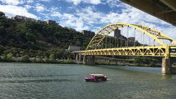 Just Ducky Tour Boat Passes Under Fort Pitt Bridge Footage