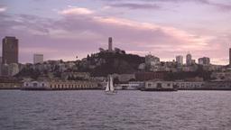 Coit Tower Evening Establishing Shot Footage