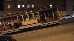 San Francisco Cable Car Climbs Steep Hill Footage