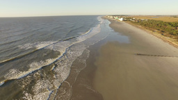 Aerial of Folly Beach Coastline Footage