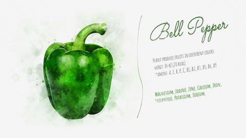 Green bell pepper animated video slide Animation