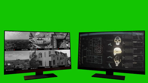 Security Monitors on a Green Screen Footage