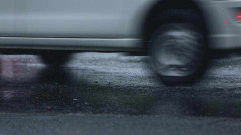 Rain falling on asphalt ビデオ