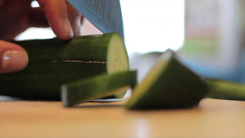 Cucumber cutting slices slicing Footage