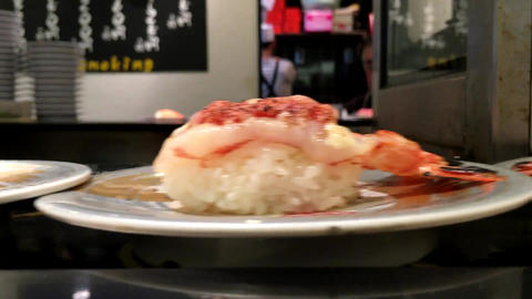 Running sushi japanese food Footage
