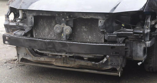 Broken front car real time Stock Video Footage