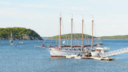 Bar Harbor pier with tour ship Margaret Todd Windjammer in Maine Footage