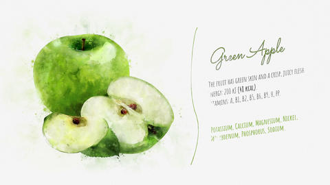 Green apple and its beneficial properties Animation