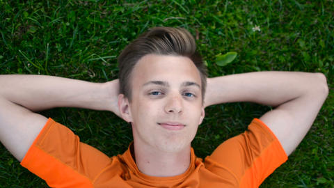 Teenager laying on the grass, smiles, winks to camera, arms behind head 영상물