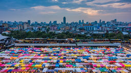 Sunset and twilight time at night market, Thailand Footage