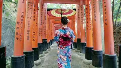 Asian women in traditional japanese kimonos walking at Fushimi Inari Shrine in Footage