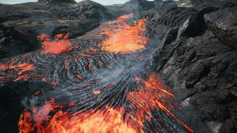 Lava flowing from volcano lava eruption CG動画素材