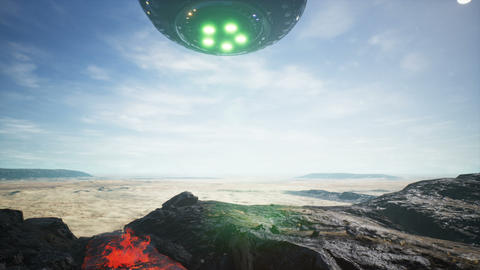 UFO lands in the desert Animation