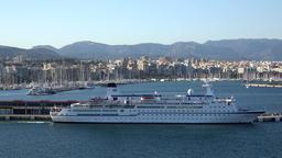 Spain Palma de Mallorca the old cruise ship Berlin leaves pier GIF