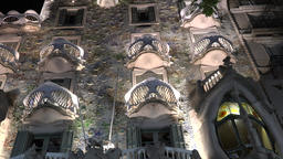 Europe Spain Catalonia Barcelona Casa Batllo in Passeig de Gracia by night Footage