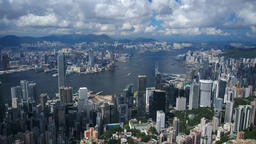 4k aerial video of Victoria Harbour in Hong Kong 영상물