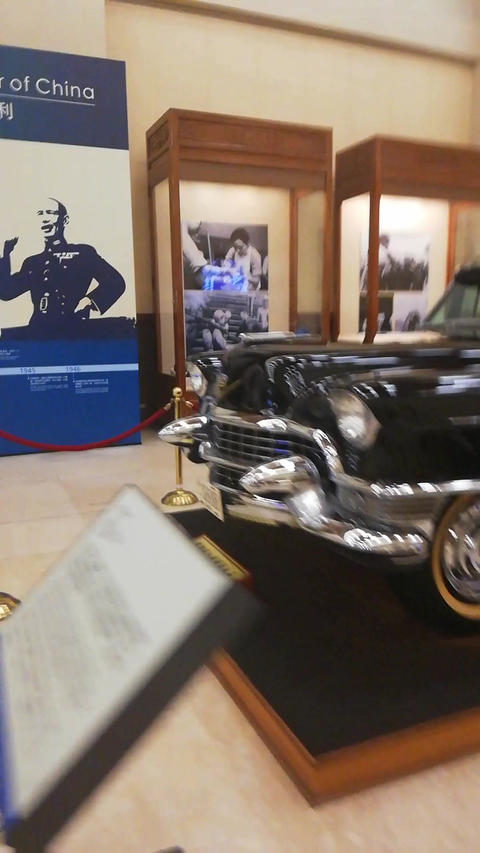 a black car in the museum Stock Video Footage