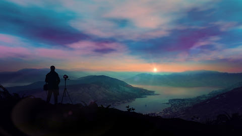 The Photographer Shoots A Fantastic Dawn In The Mountains Animation