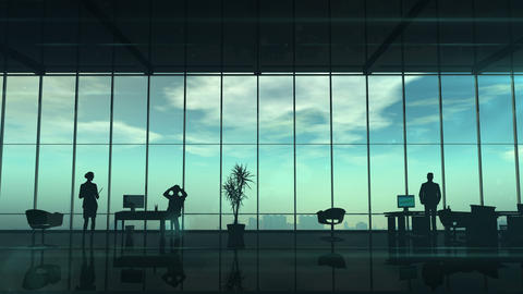 Silhouettes Of Office Employees On Different Floors, Stock Animation
