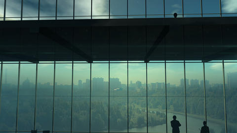 Silhouettes Of Office Employees On Different Floors Stock Video Footage