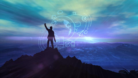Silhouette of a man on top against a background of infographics Animation