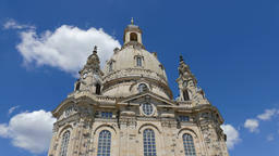 Moving clouds over the Frauenkirche dome. Timelapse Live Action