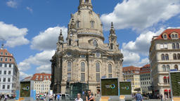 The Dresden Frauenkirche church and old town square. Germany Footage