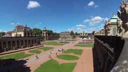 Zwinger palace - famous historic building in Dresden, Germany. Wide angle shot Live Action