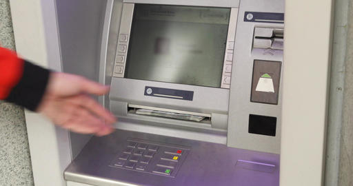 Man Using ATM Machine Live Action