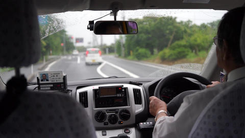 peaceful and rainy taxi in Tottori, Japan Footage