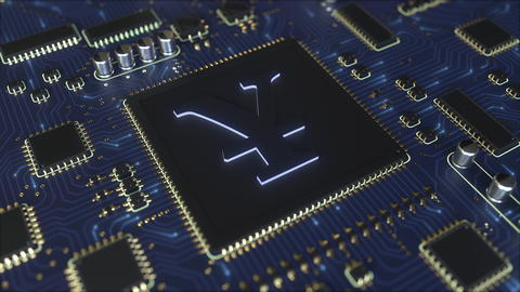 Chipset board with Japanese yen JPY sign. 3D rendering フォト