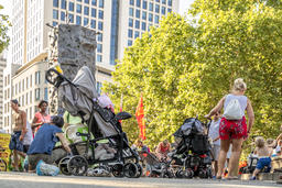 Frankfurt / Germany - August 02 2018: People with buggies gathering on Photo